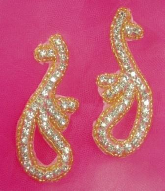 A0473  Gold Beaded Rhinestone Mirror Pair Appliques  3.25""