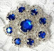 "A0474A  Blue Silver Rhinestone Jewel Floral Applique 1.25"""