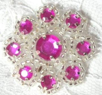 A0474A  Fuchsia Silver Rhinestone Jewel Floral Applique 1.25&quot;