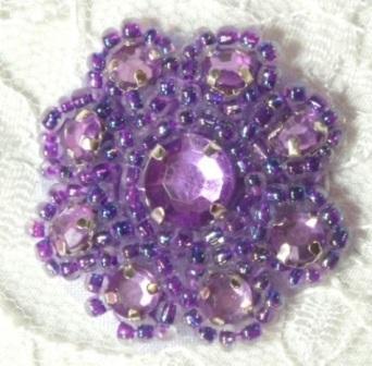 "A0474A  Lavender Rhinestone Jewel Floral Applique 1.25"""