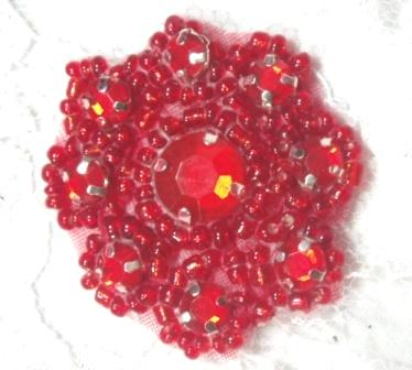 A0474A  Red Rhinestone Jewel Floral Applique 1.25&quot;