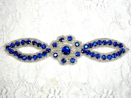 A0474C   Royal Blue Silver Jewel Rhinestone Beaded Floral Applique 5""
