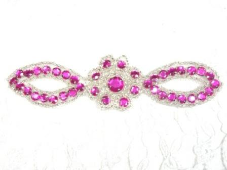 A0474C   Fuchsia Silver Jewel Rhinestone Beaded Floral Applique 5""