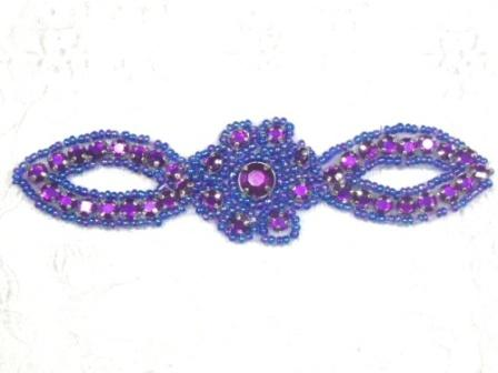 A0474C  Purple Jewel Rhinestone Beaded Floral Applique 5""