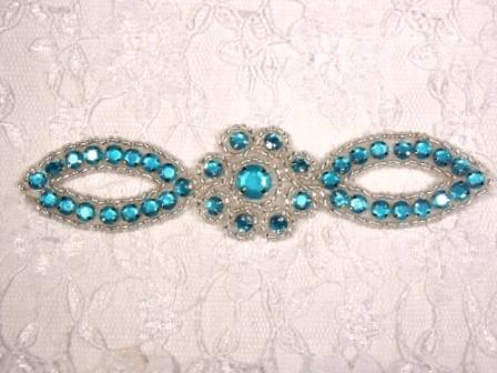A0474C  Turquoise Silver Jewel Rhinestone Beaded Floral Applique 5""
