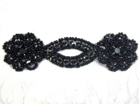 A0474D  Black Jewel Rhinestone Beaded Floral Applique 4.25&quot;