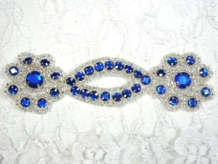 A0474D  Royal Blue Silver Jewel Rhinestone Beaded Floral Applique 4.25""