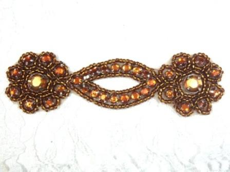 A0474D  Bronze Jewel Rhinestone Beaded Floral Applique 4.25""