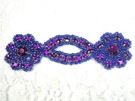 A0474D Purple Jewel Rhinestone Beaded Floral Applique 4.25""