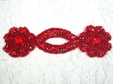 A0474D   Red Jewel Rhinestone Beaded Floral Applique 4.25""