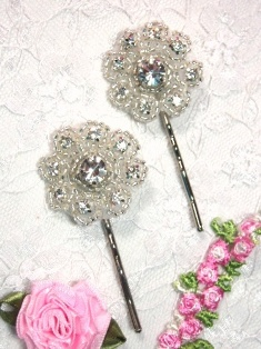 A0478B Set of Two Crystal Floral Rhinestone Beaded Hair Pins