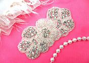 "Floral Applique Crystal Rhinestone Silver Beaded Flower Patch 3.75"" (ACT/DH55-slcr)"