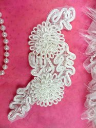 ACT/FS4796 Bridal Sash Applique White Beaded 3D Floral Vine 6""