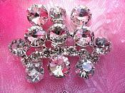 ACT/TS114/B Crown Silver Crystal Clear Rhinestone Applique Embellishment Cluster  2.25""