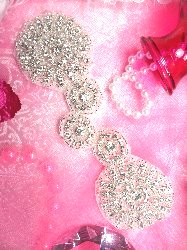 """ACT/TS129 Floral Circle Silver Beaded Crystal Rhinestone Applique 7"""""""