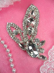 RMACT/XR143/A-slcr REDUCED Silver Crystal Rhinestone Applique Embellishment 3.5""