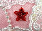 Star Applique 1 Inch Red Sequin Beaded Patch Iron On Petite (ACT/XR359-rd)
