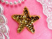 Star Applique 2 Inch Gold Sequin Beaded Patch Iron On (ACT/XR360-gl)