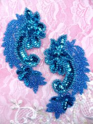 """ACT/0180/A Turquoise Mirror Pair Sequin Beaded Appliques 4"""""""