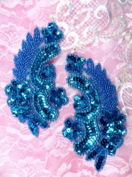 """ACT/0180/B Turquoise Mirror Pair Sequin Beaded Appliques 4"""""""