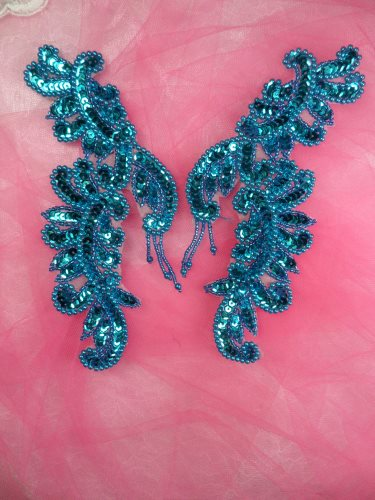 """ACT/0510/A Appliques Turquoise Mirror Pair Sequin Beaded Patch Motifs 7"""""""