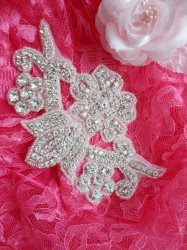ACT/DH25/C Applique Crystal Rhinestone Silver Beaded Bridal Patch Motifs 6""