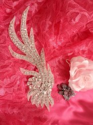 ACT/DH29/A Applique Crystal Rhinestone Silver Beaded Bridal Sash Patch Motif 8""