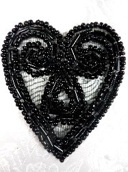 ACT/XR103/A  Black Heart Beaded Applique 2.5""