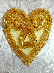 ACT/XR103/A  Gold Heart Beaded Applique 2.5""