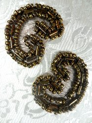 ACT/XR103/B Set of ( 2 ) Curled Bronze Beaded Appliques 1.25""