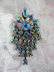 ACT/XR185 Black Backing Aurora Borealis Rhinestone Applique Glorious Dangles Embellishment 1.5\