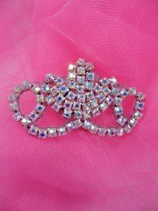 "ACT/XR243/B  Black Backing Crystal Aurora Borealis Rhinestone Elegant Tiara Applique 2.75"""
