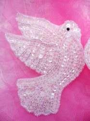 ACT/XR244/A (Left Side) Crystal AB Dove Beaded Sequin Applique 4.5""