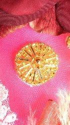 AFS08 Gold Ferris Wheel Beaded Applique 1""
