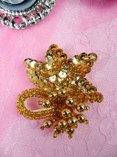 AT8634S Gold Dangle Beaded Sequin Applique 2""