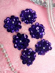 AT8900 Set of 6 Purple Sequin Flower Pearl Appliques 1""