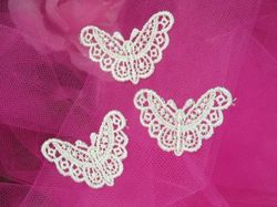 """F7  Set of 3 Ivory Venise Lace Butterfly Appliques 1.75"""""""