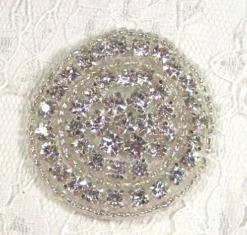 AXR8A  Crystal Glass Circle Beaded Rhinestone Applique 1.75""