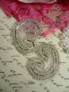"""ACT/XR103/B Set of ( 2 ) Curled Silver Beaded Appliques 1.25"""""""