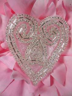 ACT/XR103/A  Heart Silver Beaded Applique 2.5""