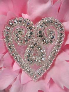 AXR105A Heart Crystal Clear Silver Beaded Rhinestone Applique 2.5""