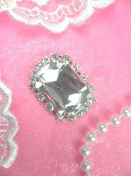 """ACT/N23 Rectangle Silver Crystal Clear Glass Rhinestone Metal Backing Embellishment 1.5"""""""