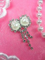 "ACT/N25 Petite Pearl Bow Crystal Rhinestone Dangles Embellishment 1.25"""
