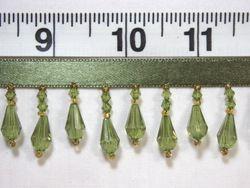 "C1  Olive Green Teardrop Beaded Fringe Sewing Trim 1"""