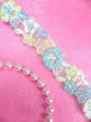 """BL11 Blue Green Floral Venice Lace Flower Trim .75"""""""