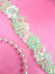 BL11 Green White Floral Venice Lace Flower Trim .75""