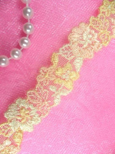 BL11 Yellow Peach Floral Venice Lace Flower Trim .75""
