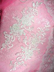 """BL1 Antique White Floral Venise Lace Mirror Pair Pearl Sequin Appliques 13"""""""