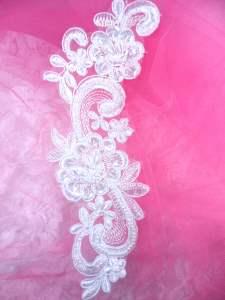 """BL2 White Floral Venise Lace Pearl Sequin Applique 8.5"""""""