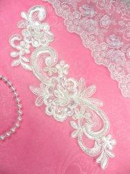 """BL2 Antique White Floral Venise Lace Pearl Sequin Applique 8.5"""""""
